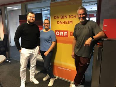 Zahnarzt Dr. Jochen Leidl bei den Radio-Burgenland-Moderatoren Lena Pavitsich und Thomas May