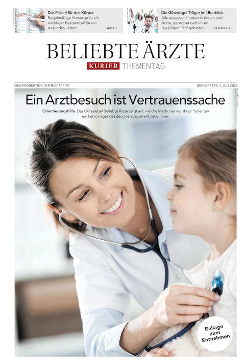 """Titelseite des Kurier Berichts """"beliebte Ärzte 2021"""""""