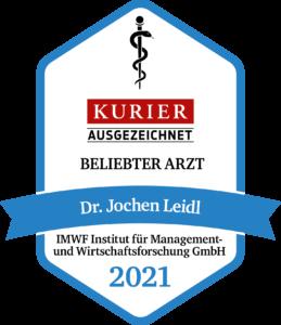 """Kurier Gütesiegel Dr. Jochen Leidl """"Beliebter Arzt 2021"""""""